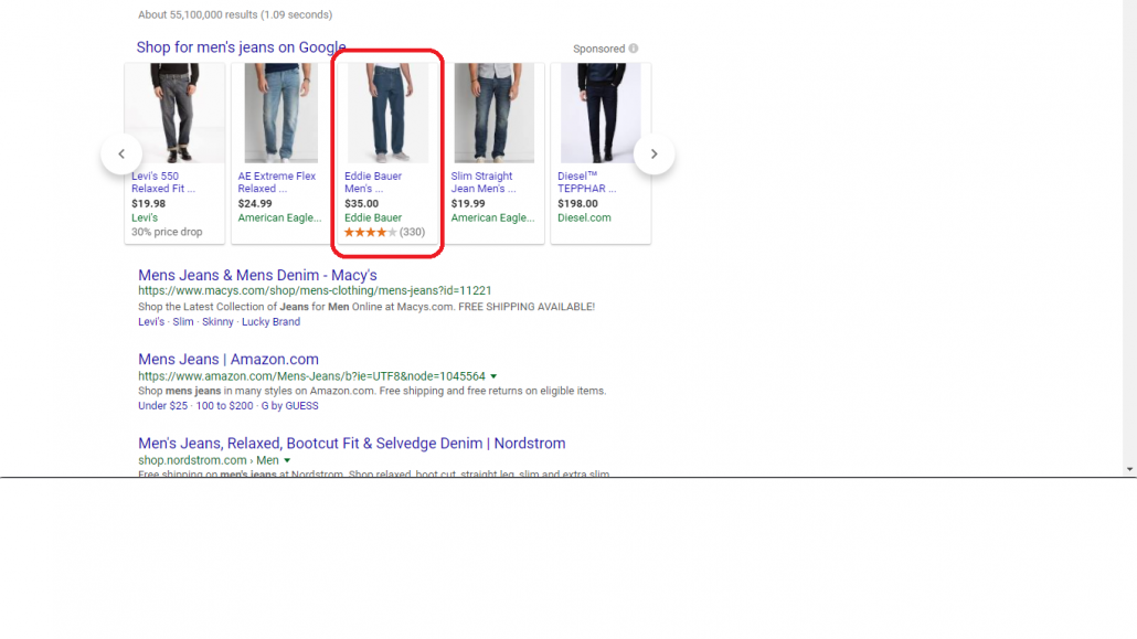 Eddie Bauer Example on Google